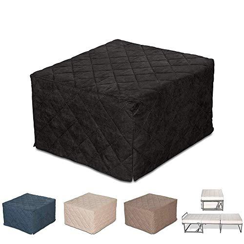 EvergreenWeb Zitzak, vierkant, inklapbaar, eenpersoonsbed, 9 cm hoog, van polyurethaan met hoge dichtheid, voor eenpersoonsbedden, ruimtebesparend, donkergrijs, afneembare bekleding.