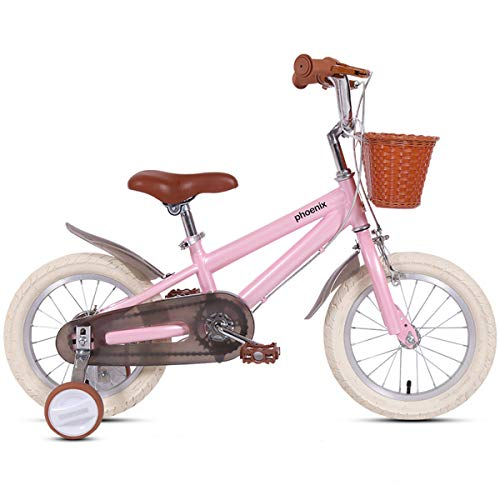 PHOENIX 14 16 18 Inch Kids Bike with Training Wheels for 3-9 Years Old Boys Girls Toddler Bike with 95% Assembled Include Basket and Installation Tools (Pink, 18 Inch with Training Wheels)