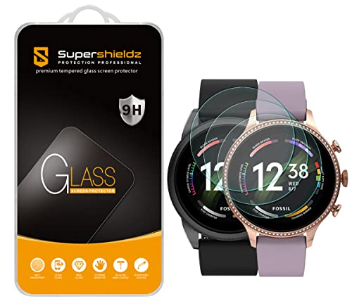 (3 Pack) Supershieldz Designed for Fossil Men's Gen 6 44mm / Fossil Women's Gen 6 42mm / Fossil Q Explorist Gen 3 Tempered Glass Screen Protector Anti Scratch, Bubble Free