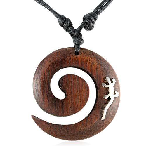 ISLAND PIERCINGS Halskette Gecko Koru Spirale Maori Design Anhänger aus Holz längenverstellbar N134