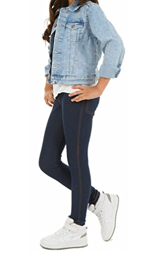 Dykmod Mädchen Thermo Leggings Leggins Hose Winter Herbst Jeans-Look hk292 122 Dunkelblau