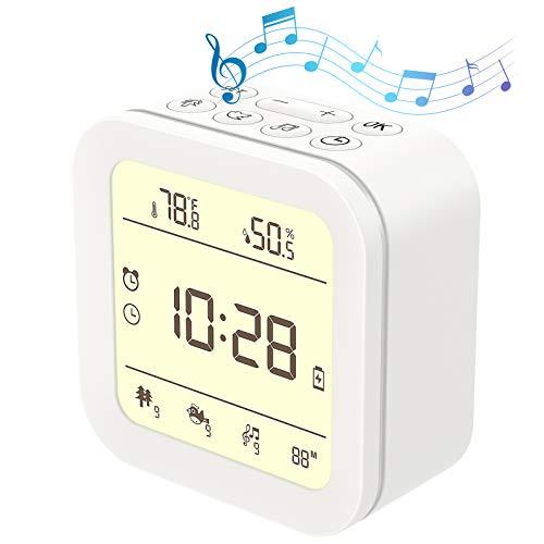 White Noise Machine, Einschlafhilfe Digital Wecker Kinder, 4 In 1 27 Natürlichen Rausche/Wecker/Nachtlicht/Thermometer Hygrometer, Einschlafhilfe Babys Weißes Rausche Maschine Schlafen Schneller Ein