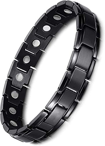 Mens Black Matt Titanium Steel Magnetic Therapy Bracelet Pain Relief for Arthritis