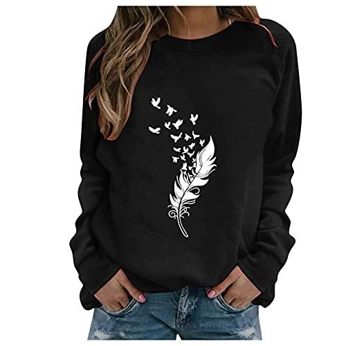 Sweat Femme sans Capuche Chic Imprimé Plume Sweat Shirt Femme Manche Longue Chemisier Femme Chic Et élégant Col Rond Sweatshirt Femme Grande Taille Pull Femme Sexy Top