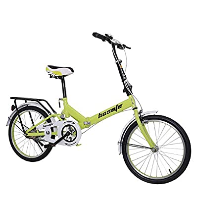 20 inch Folding Bikes for Adults and Teens, Mini Protable City Coummter Bike, High Tensile Complete Cruiser Bikes for Women and Men with Suspension System Green