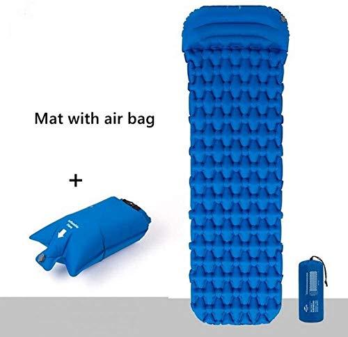 avec Ballon Tampon Bouffantes Presse Novice Tente Ultra-léger Escalade en Plein air Matelas de Camping Matelas de Couchage Coussin d'oreiller, Couleur: Orange (Color : Blue Air Bag)