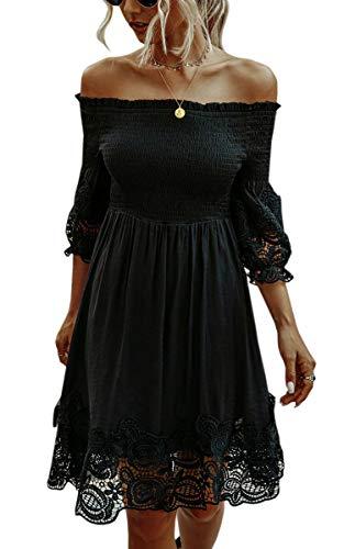Spec4Y Vestito da donna con volant, spalle scoperte, a pois, maniche corte, elegante, estivo, con...
