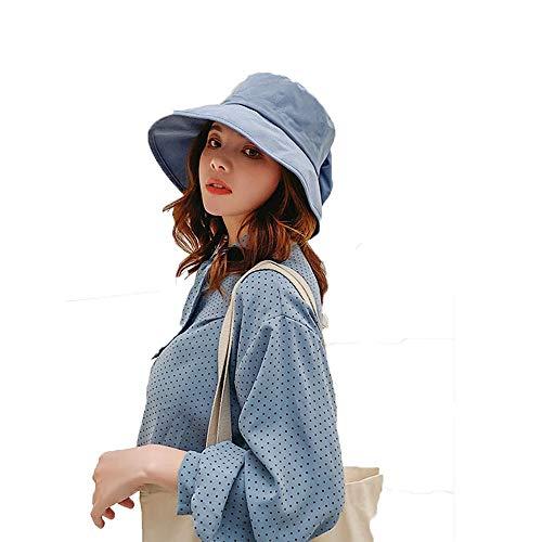 Sombrero para el sol, sombrero de algodón plegable playa de las mujeres afiló Wide-Bow Pescador sólido sombrero del verano al aire libre UV cubo de la visera parasol correa de barbilla ajustable,C