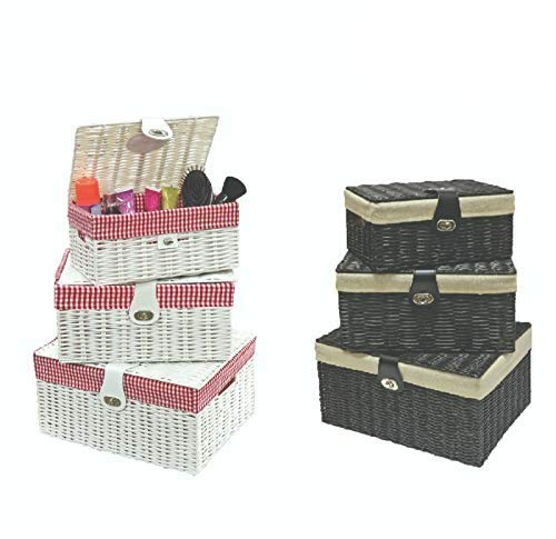 1 Click Buy Set of 3 Resin Woven Wicker Storage Basket Box with Lid & Lock, Large, Medium, Small (Black (Beige Lining)