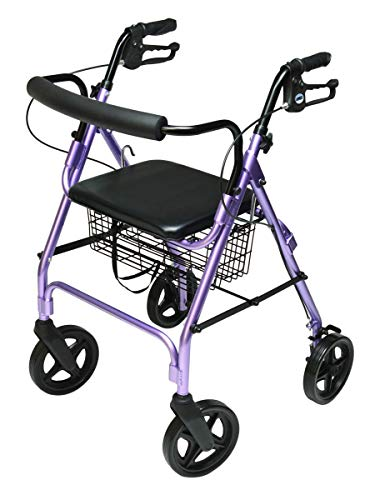 Lumex Walkabout Contour Deluxe Rollator with Seat  Larger 8quot Wheels amp Padded Backrest for Upgraded Comfort  Lavender RJ4805L