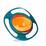 Bothsense Spill Resistant Baby Gyro Bowl, 360 Degree Rotating Snack Cups for Toddlers Spill Proof with Lid and Handles – Blue