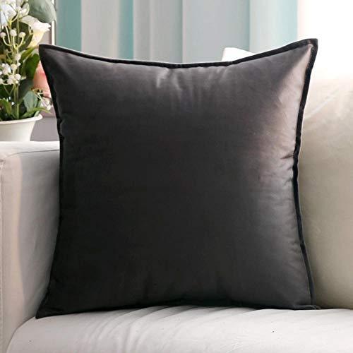 Funda de cojin Set de 2 Terciopelo Color Liso Funda de cojín Cremallera Invisible para salón Dormitorio Coche l-Norte_60 x 60 cm