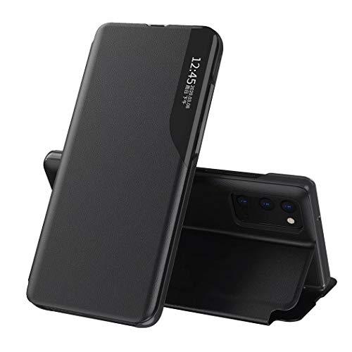 JIAFEI Hülle Kompatibel mit Samsung Galaxy A32 5G, Premium Leder Handyhülle mit Sichtfenster Fenster Spiegel Flip Business-Stil Hülle Cover, Schwarz