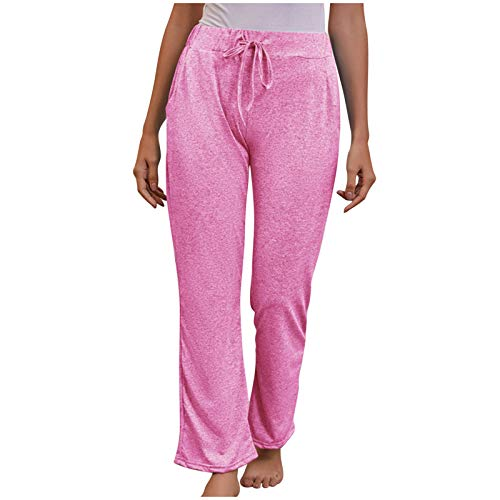 SSMENG Women's Casual Comfy Pajama Pants Stretch Drawstring Palazzo Lounge Pants Wide Leg Pant for All Seasons Plus Size Pink