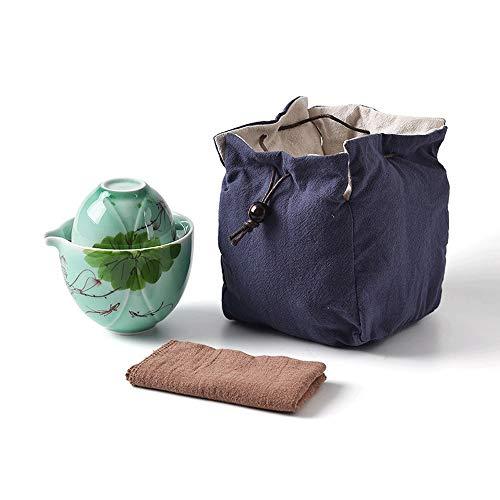 JISHIYU -Q Juego de té de viaje, juego de té de filtro portátil de viaje, juego de té de cerámica de oficina, una tetera y una taza de té