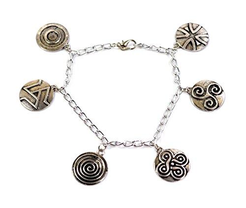 Pulsera con abalorios de Teen Wolf; abalorios de símbolos druidas de plata antigua; Scott McCal y Derek Hale