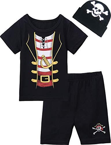MOMBEBE COSLAND Disfraz Pirata Bebé Niño Conjunto de Camiseta Manga Corta (6-12 Meses, Pirata)