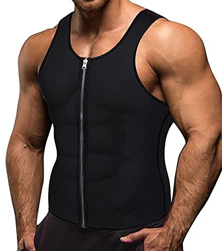 Memoryee Sauna para Hombre Sudor con Cremallera Chaleco para Perder Peso Corsé de Neopreno Caliente Entrenador en la Cintura Camisa para Adelgazar Entrenamiento/Black/L