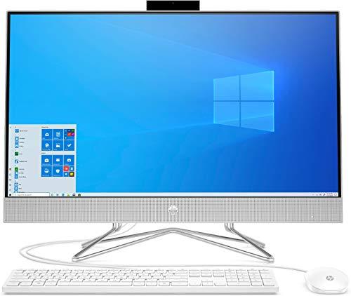 """HP – PC 27-dp1013nl All-In-One, Intel Core i3-1115G4, RAM 8 GB, SSD 512 GB, Grafica Intel UHD, Windows 10 Home, Schermo con Casse Audio 27"""" FHD IPS, Lettore Micro SD, Webcam, USB-C, HDMI, Argento"""