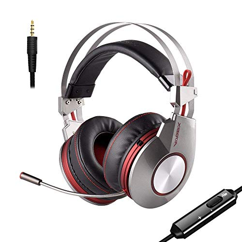 Gaming Headset with Surround Stereo Bass Sound,Noise Isolating and Microphone Switch,Xiberia K5D 3.5mm Wired Over-Ear Headphones with Volume Control for PS4 Xbox One Laptop, Mac, Computer