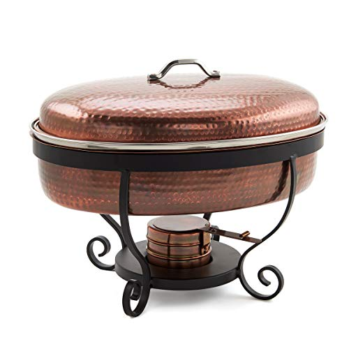 Old Dutch Hammered Antique Copper, 6 Qt. Chafing Dish.
