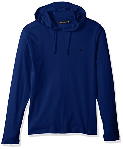 Nautica Men's Long Sleeve Classic Fit Jersey Hoodie Tshirt, Blue Depths, X-Small