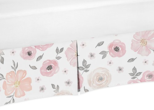 Blush Pink, Grey and White Baby Girl Pleated Crib Bed Skirt Dust Ruffle for Watercolor Floral Collection by Sweet Jojo Designs