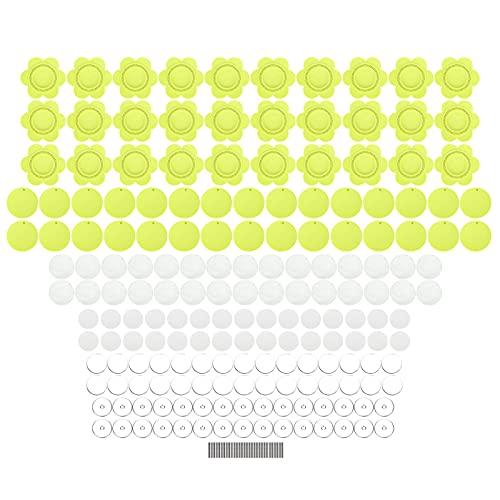 30Set Sun Flower Badge Broche de plástico Modelo de fabricación de marcos de fotos de 58 mm para material de insignias hechas a mano(Amarillo)