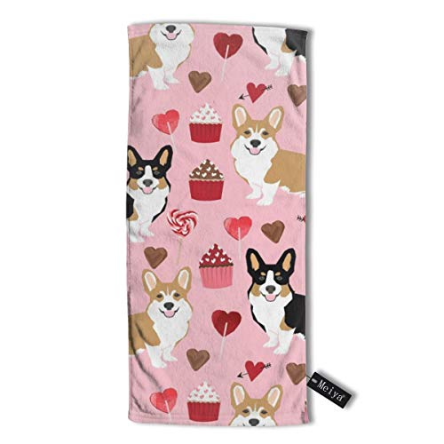 Corgis Tri Colored Corgi Fabric Cute Valentines Love Pink Design Best Cupcakes and Sweet Design Hand Towel,Travel Towel,Bath Sheet, 30 X 70 cm - Multipurpose Towels for Bath, Hand, Face, Gym and Spa