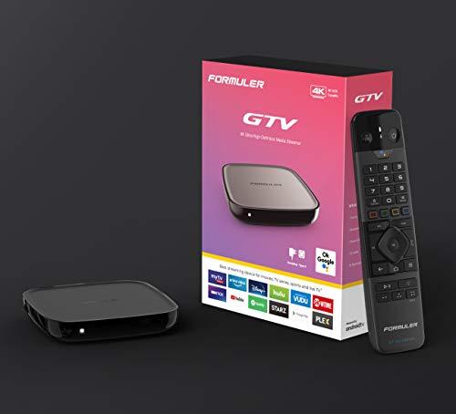 Formuler GTV 4K UHD Android 9.0 TV IP Lecteur multimédia H.265 HEVC, 16 Go Flash, 2 Go DDR4, télécommande Bluetooth, 2,4/5 GHz, Double Wi-FI, Gigabit LAN, Google Play, MYTV, Noir