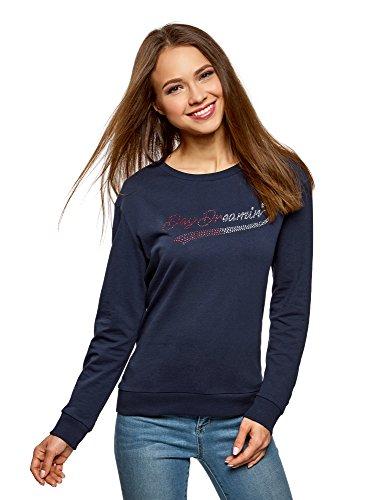 oodji Ultra Damen Baumwoll-Sweatshirt mit Strass-Steinen, Blau, DE 34 / EU 36 / XS