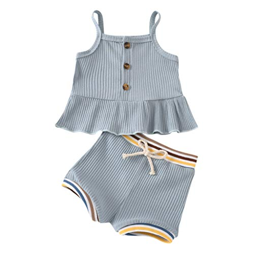 Säugling Baby Mädchen Solide Hosenträger Kleid Tops Streifen Kurze Hose Outfits Einstellen