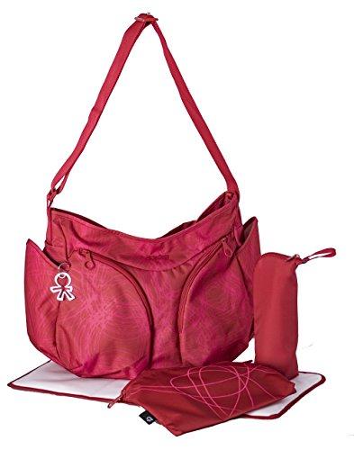 okiedog MONDO 39022 leichte geräumige Wickeltasche mit Schultergurt, inkl. CLIPIX Kinderwagenhaken, Wickelunterlage, isolierter Flaschenhalter und Zubehörbeutel, Scribbles rot, ca. 49 x 32 x 19 cm