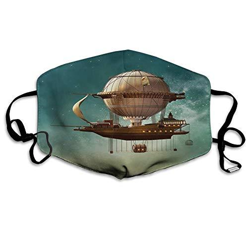 Bequeme Winddichte Maske, Fantasie, surreale Himmelslandschaft mit Steampunk-Luftschiff-Fee Sci-Fi-Sternenstaub-Weltraumbild, blaugrünes Braun