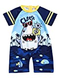 Toddler Baby Boy Swimsuit One Piece Zipper Short Sleeve Shark Bathing Suit Baby Boy for Swimwear 2T/3T