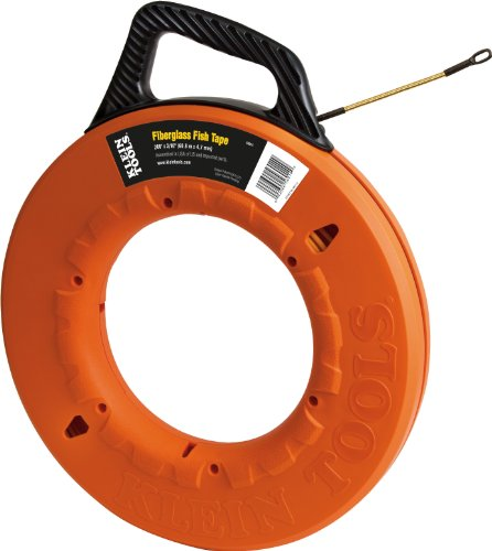 Klein Tools 56014 Fish Tape 200-Foot Long x 3/16-Inch Wide is Non-Conductive Fiberglass, Flexible for Conduit Measuring as Pull Line