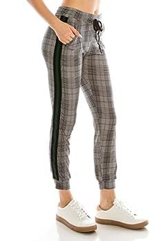 ALWAYS Women Drawstrings Jogger Sweatpants - Super Light Skinny Fit Premium Soft Stretch Plaid Checkered Pockets Track Pants Green US S  Tag S/M