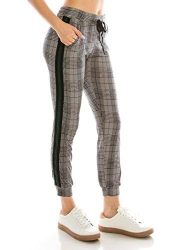 ALWAYS Women Drawstrings Jogger Sweatpants - Super Light Skinny Fit Premium Soft Stretch Plaid Checkered Pockets Track Pants Green US S (Tag S/M)