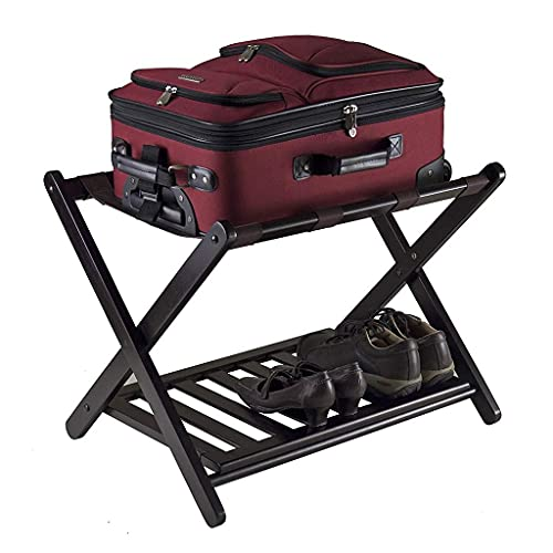 Soporte de equipaje plegable, portaas de equipaje portátil, estante de almacenamiento de bambú, con 4 correas de nylon negras y estante de almacenamiento inferior, para hogar, dormitorio y viaje