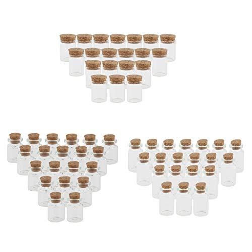 F Fityle Paquete de 60 5 + 10 + 15ML Mensaje Lucky Wishing Corcho Viales de Vidrio DIY Collar Colgante Botellas Decorativas