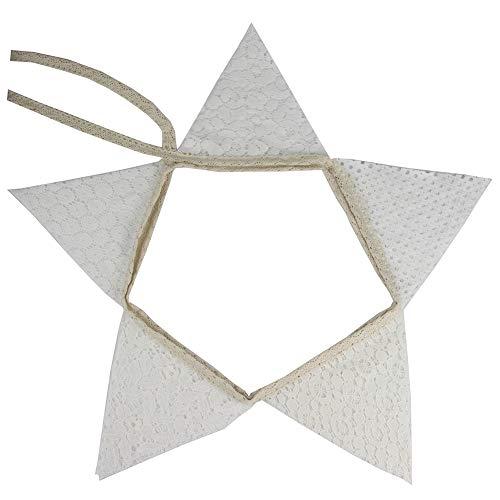Demarkt - Guirnalda de banderines con encaje blanco vintage, guirnalda de banderines para bodas, decoración, exteriores, fiestas de cumpleaños
