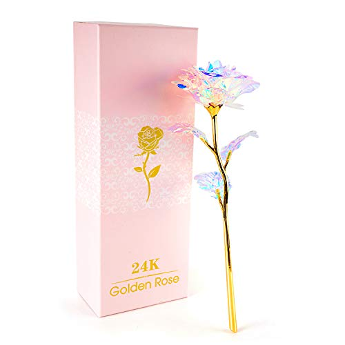 24K Colorful Rose Artificial Flower Unique Gifts Valentines Day Thanksgiving Mothers Day Girls Birthday, Best Gifts for Her for Girlfriend Wife Women
