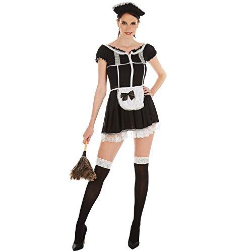 TecTake dressforfun Frauenkostüm sexy Zimmermädchen | Super verführerisches Kleid | Zaubert EIN traumhaftes Dekolleté | inkl. Haarreif und Strümpfe (XL | Nr. 301058)