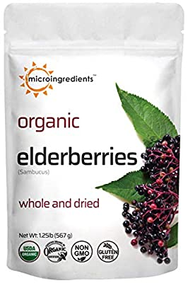 Organic Dried Elderberries (Sambucus nigra L.), European Whole Cut, 1.25lb (20 Ounce), Great Immune System Booster for Syrup, Gummies, Jelly, Tea, and Wine, Kosher and Non-irradiated, Vegan Friendly