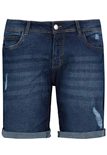 Sublevel Damen Stretch Jeans Bermuda-Shorts im Used-Look Dark-Blue M