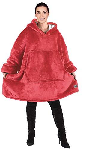 Kato Tirrinia Übergroßes Hoodie-Decken-Sweatshirt, superweicher, Warmer, bequemer Sherpa-Riesenpullover mit großer Fronttasche, für Erwachsene Männer Frauen Teenager Frau,one Size, Purpur
