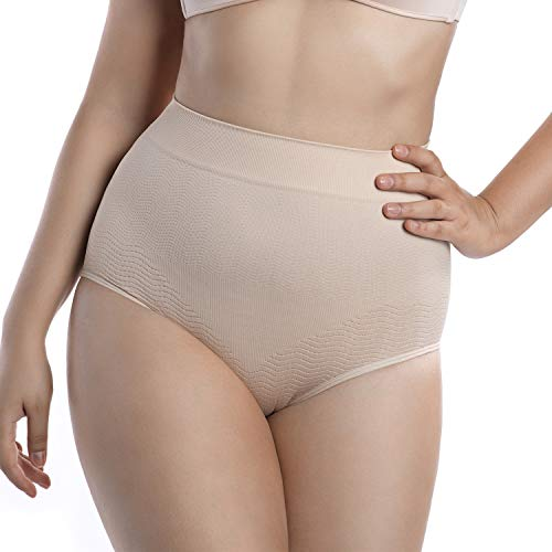 +MD Pantalones Cortos de Talle Alto para Mujer Cobertura Completa Breve Panty Control de Abdomen Adelgazar Bragas Fajas LightNudeM