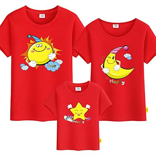 SANDA T-Shirt Hombre,Hombre y Femenino Estrella de Manga Corta Sol para Padres-nio instalacin de Color slido Camiseta-Rojo_Nios 120