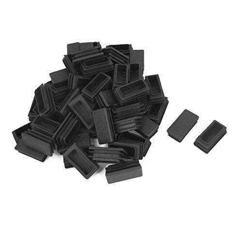 sourcing map Giunto rettangolare in plastica con inserti, tappi, 20 x 40 mm (confezione da 100), colore: nero