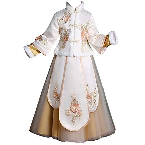 Ropa tradicional Chicas 'Hanfu - Traje antiguo Super Fairy Children's Tang Vestido Cheongsam Estilo chino bebé Año Nuevo Desgaste otoño e invierno Ropa de invierno Mangas largas gruesas Dignificado he